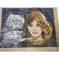 Канва с рисунком «Девушка и Кошка»