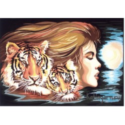 Канва с рисунком «Женщина- Тигр»
