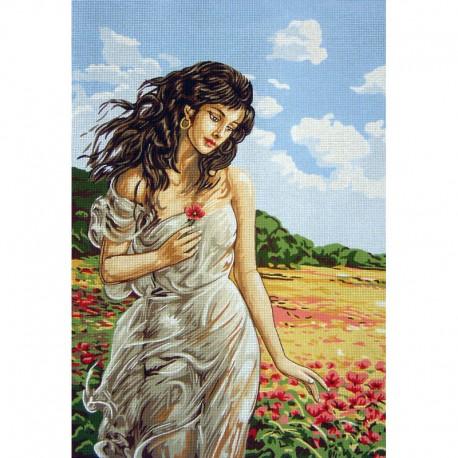 Канва с рисунком « Девушка в маках»
