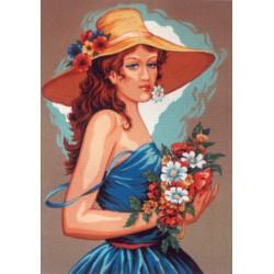 Канва с рисунком «Девушка в голубом»