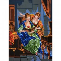 Канва с рисунком «Читающие дамы»