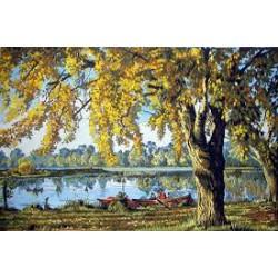 Канва с рисунком «Осень у озера »