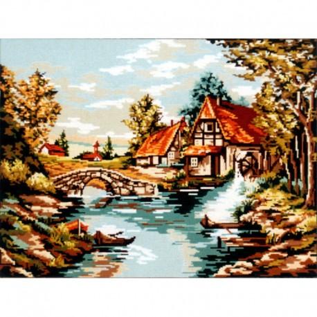 Канва с рисунком «Мельница у реки»
