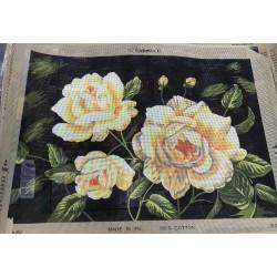 Канва с рисунком «Жёлтые розы»