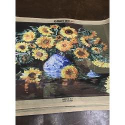 Канва с рисунком « Подсолнухи в голубой вазе»