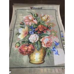 Канва с рисунком « Букет в вазе с колокольчиками»