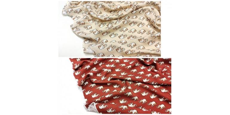 Плательная ткань со слонами